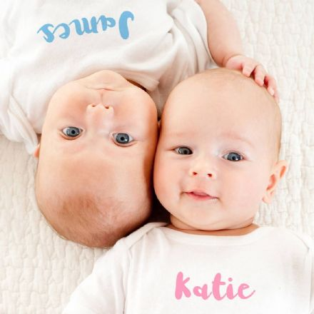 Personalised Baby Grow Set For Twins